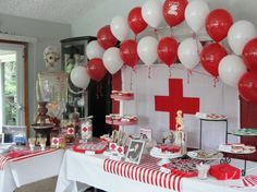 red and white colors for nurse grad party! Nurse Grad Parties, Nurse Party, Nursing School Graduation, Graduation Party Decor, Retirement Parties, School Parties, Nurse Decorations Party, Graduation Ideas, Doctor Party