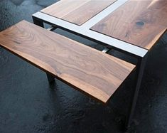 Expandable Walnut 'Zeeva' Dining Table & (optional) Bench Set, Steel Frame, Custom (shipping/delivery not included in pricing) Walnut Dining Table, Dinning Table, Wood Table, Steel Table, Wood Steel, Wood And Metal, Metal Furniture, Industrial Furniture, Custom Crates