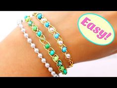 I love simple jewelry making and easy diy and this jewelry tutorial is for all of you who are into simple crafts too. These easy elasticated DIY bracelets ar. Hippie Jewelry, Wire Jewelry, Jewelry Tools, Copper Jewelry, Jewelry Ideas, Diy Bracelets Easy, Beaded Bracelets, Bracelet Crafts, 14k Gold Initial Necklace