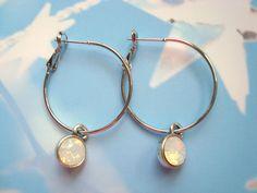 Opal white crystal earrings