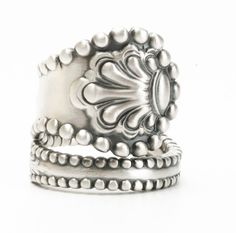 Victorian Ring, Sterling Silver Spoon Ring, Silver Shell Ring, Antique Spoon Ring, 1894 Charles II, Silver Thumb Ring, Adjustable Ring 5959 by Spoonier on Etsy