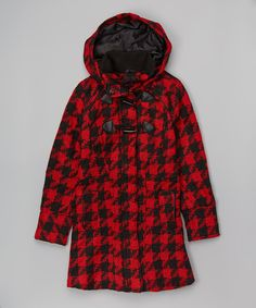 Red & Black Buffalo Houndstooth Coat - Girls