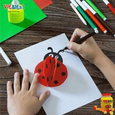 1.     Cut out two circles with the red crafts paper 2.     Bend them in half and draw black dots with the marker 3.     Cut out a circle with the black crafts paper 4.     Stick it as the head of the ladybug 5.     Cut out two small white circles and stick them as the eyes. 6.     Use the black marker to create the eyes. 7.     You can create a number of these ladybugs and stick them on a paper 8.     Draw two antennas with the marker to complete the craft.