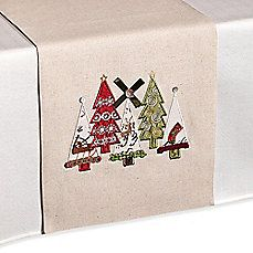 image of Christmas Tree Applique Table Runner