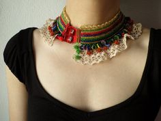 beaded crochet collar necklace with black by irregularexpressions