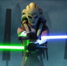 Kit Fisto faces Grievous with both his and Vebb's lightsabers