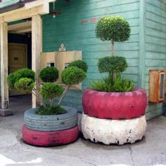 Car tyre recycling furniture from car tires stand plants