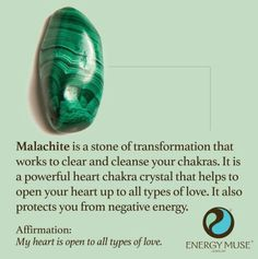 Malachite is a stone of transformation that works to clear and cleanse your chakras. It is a powerful heart chakra crystal that helps to open your heart to all types of love. It also protects you from negative energy. should learn to like this stone. Chakra Crystals, Crystals And Gemstones, Stones And Crystals, Gem Stones, Healing Gemstones, Chakra Stones, Chakra Healing, Crystal Magic, Crystal Healing Stones