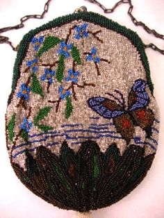 Vintage Butterfly Beaded Purse 1900 - 1920 Antique Handbag