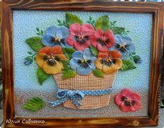 Картина, панно, Поделка, изделие Лепка, Роспись: Цветы,цветы! Гуашь, Скорлупа яичная, Тесто соленое. Фото 1