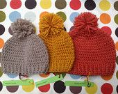 Crocheted Pom pom hat in Autumn Colors