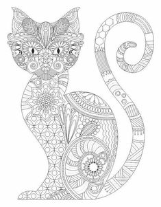 Cat Zentangle Coloring Pages Colouring Adult Detailed Advanced Line Art Black and White Coloring Pages For Grown Ups, Free Adult Coloring Pages, Printable Coloring Pages, Free Coloring, Cat Coloring Page, Doodle Coloring, Colouring Pics, Coloring Books, Mandalas Painting