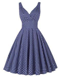 Classy Women's Deep V-Neck Polka Dot Vintage Party Dress Navy Blue(L) Love this dress! -rcc