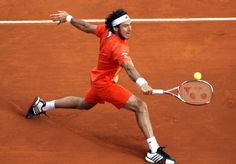 Argentinian Juan Monaco hits a return to Netherland's Robin Haase during their Monte-Carlo ATP Masters Series tournament tennis match, on April 17, 2012 in Monaco.