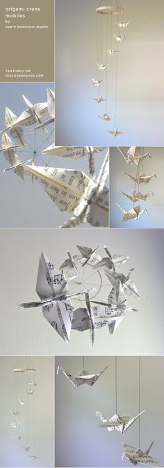origami crane mobiles by Spare Bedroom Studio / featured on discoverpaper.com