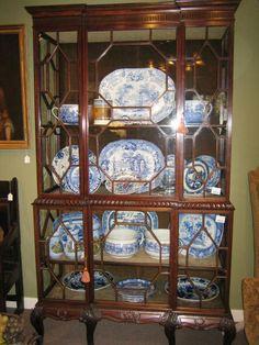 Amazing antique drexel oversized bowfront china cabinet breakfront ...