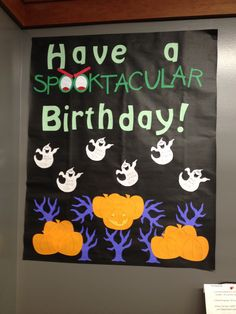 October birthday bulletin board.