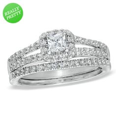 I've tagged a product on Zales: 1/2 CT. T.W. Princess-Cut Diamond Frame Split Shank Bridal Set in 14K White Gold