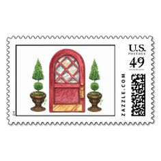 Red Door Topiary Welcome New Address Postage. This is a fully customizable business card and available on several paper types for your needs. You can upload your own image or use the image as is. Just click this template to get started!