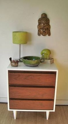 White and Wood dresser side table with a marble top for our coffee bar?