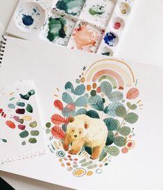 Painting Inspiration, Art Inspo, Watercolor Illustration, Watercolor Paintings, Art Graphique, Art Sketchbook, Community Art, Gouache, Cute Drawings
