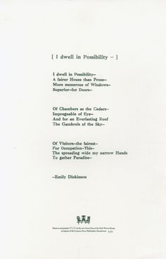I Dwell in Possibility by Emily Dickinson by SpeakPhyllis on Etsy
