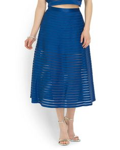 Mesh Striped A Line Skirt