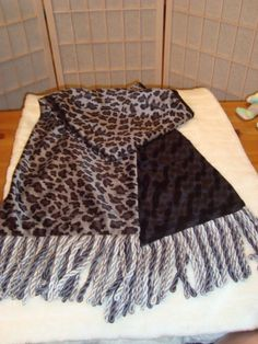 Beautiful 2 Sided Velor Black and Silver Gray Leopard Scarf W/ Rope Braid Fringe #Unbranded #Scarf