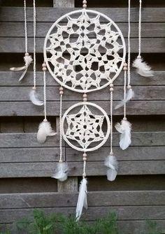 Lindevrouwsweb: Dromenvangers haken Crochet World, Crochet Home, Diy Crochet, Crochet Doilies, Crochet Circles, Button Art, Beautiful Crochet, Dream Catcher, Crochet Patterns