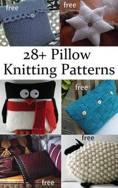 Pillow and Cushion Free Knitting Patterns including cable, brocade, lace, animal and fun shapes