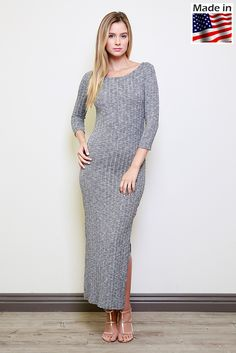 Lumiere Fashion AD00922(800592) 3/4 sleeved ribbed knit bodycon dress with side slit.