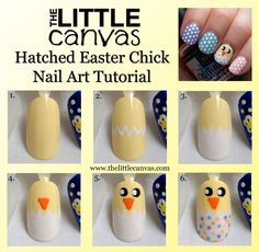 Hatched Easter Chick Nail Art   Tutorial