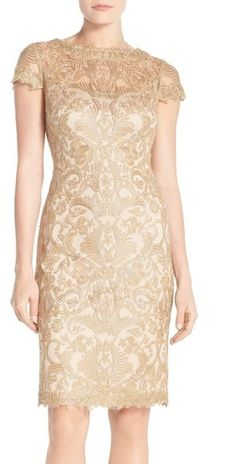 Tadashi Shoji Illusion Yoke Lace Sheath Dress (Regular & Petite)