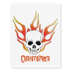 #Flaming #Skull Just Add Name Temporary #Tattoos