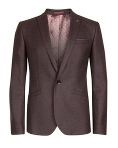 Wool check blazer - Dark Red | New Arrivals | Ted Baker