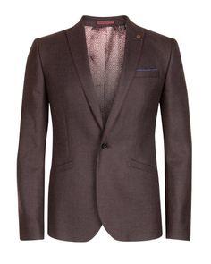 Wool check blazer - Dark Red | New Arrivals | Ted Baker