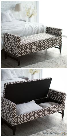 This ottoman isn't just a spot to sit while you're putting your outfit together with shoes and other accessories – it's a spot to put your room together, too, thanks to hidden internal storage Más Space Saving Furniture, Home Decor Furniture, Diy Home Decor, Furniture Design, Bedroom Furniture, Simple Bedroom Design, Small Bedroom Designs, Window Seat Storage, Window Seats