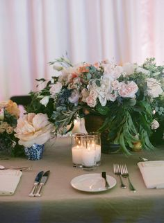 #place-settings, #centerpiece, #candle  Photography: Elizabeth Messina - elizabethmessina.com  Read More: http://www.stylemepretty.com/2013/08/15/ojai-valley-inn-spa-wedding-from-elizabeth-messina-photography/
