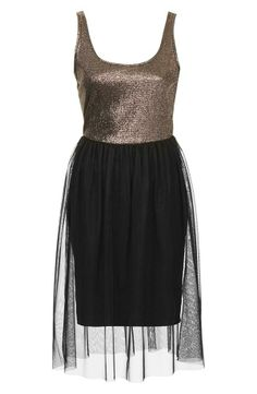 Topshop Metallic Bodice Jersey  Tulle Dress