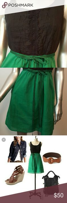 """MAEVE by Anthopologie """"Jacqueline"""" Dress Sz 0 *EUC Prestine condition/Like new- maybe worn once  Curvy folds  Pintucked pleats   Concealed side pockets   Delicate lace panels   Belted  Color-Green Black  Fabrication- 100% Cotton   Measurements-Lenght =31.5  Feel free to contact me with any questions or concerns prior to purchase   Thank you for looking in my closet! kostkutter Anthropologie Dresses"""