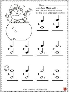 ST Patrick's Day Music worksheets! Music Math!  ♫ CLICK through to preview the set or save for later!  ♫