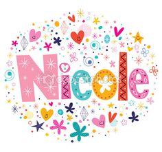 Diseño de nombre femenino Nicole decorativo Letras tipo — Vector de stock © Aliasching #73144685
