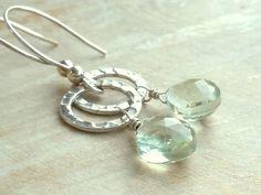 Green Amethyst Earrings Sterling Silver Hammered Circle Faceted Mint Prasiolite Gemstone Dangling earrings