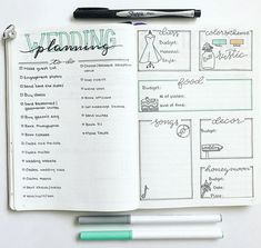 Planning your wedding in your bullet journal not only helps you to be prepared for all the practical things that need to get done, it's also a lot of fun! Bullet Journal Spread, Bullet Journal Layout, Bullet Journal Inspiration, Journal Ideas, Bujo, Do It Yourself Wedding, Plan Your Wedding, Bullet Journal Organisation, Wedding Planning Notebook
