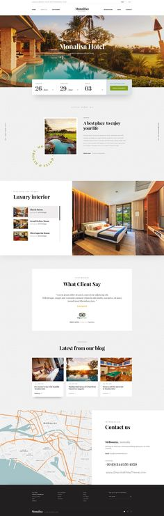 Monalisa is modern and elegant premium #PSD #Template designed for #hotels, resorts and #room reservation website download now➯ https://themeforest.net/item/monalisa-premium-booking-hotel-psd-template/16889515?ref=Datasata