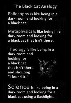 The black cat analogy. The Black Cat Analogy dark room and looking for e black cat, taa. gfbtgts is like being in e dark room and looking for a black cat that Atheist Humor, Religion Frases, Schrodingers Cat, Pseudo Science, Science Fun, Thought Provoking, Decir No, Quotations, Inspirational Quotes