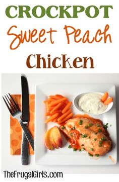 Crockpot Sweet Peach Chicken Recipe! ~ you'll love this easy dinner recipe with a tasty touch of sweet! #slowcooker #recipes | TheFrugalGirls.com