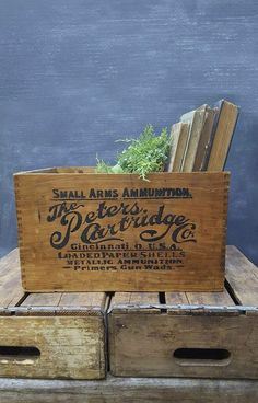 Vintage Wood Crate With Hand Stenciled Graphics, Peters Cartridge Co by…