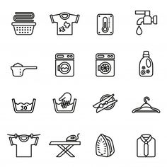 Laundry Icons Housework Icons Line Style Stock Vector (Royalty Free) 371309713 Baby Onesie Template, Laundry Icons, Earth Day Coloring Pages, Water Icon, Bullet Journal 2019, Laundry Room Signs, Simple Doodles, House Drawing, Catalogue