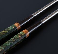 Green Maple Burl Moribashi plating chopsticks handmade by Isaiah Schroeder.